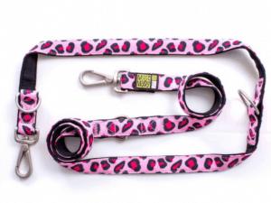 Max & Molly – Leopard Pink Çok Fonksiyonlu Köpek Gezdirme Kayışı